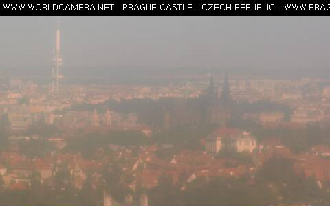 Prague castle and city skyline with TV tower